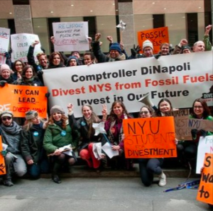 Climate activists gathered in the War Room of the NYS Capitol Building on February 27 to urge Comptroller Tom Dinapoli to divest New York pension funds from fossil fuel companies.