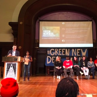 We hear from Alice Slater of the Manhattan Project on climate and nuclear; farmer Liz Henderson of NOFA; Smitha Vergese of NYPIRG who co-moderated the event; Cata Romo of 350.org; and NYC Comptroller Scott Stringer.