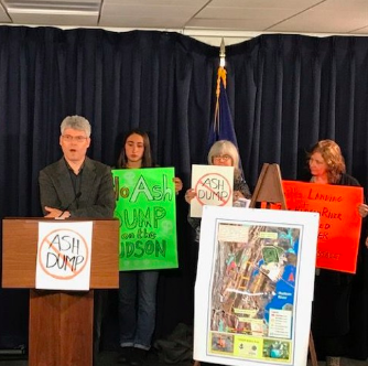Paul Gallay of Riverkeeper and former region 2 EPA Administrator Judith Enck spoke at a news conference on April 15 opposing an ash dump in Catskill.